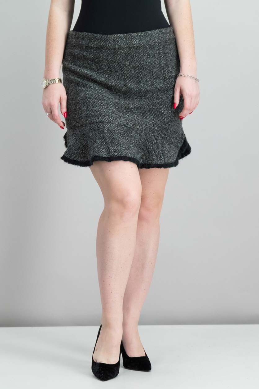 Women Parker Frayed Tweed Mini Skirt, Black/Silver