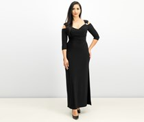 R & M Richards Cold-Shoulder Gown, Black