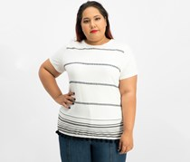Ralph Lauren Plus Size Striped T-Shirt, Offwhite