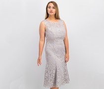 Alex Evenings Embroidered Tulle Midi Dress, Pewter Frost
