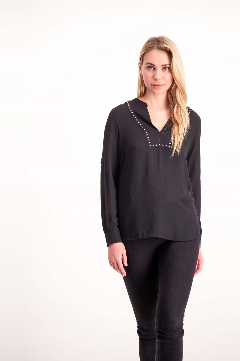 Splitneck Top, Black