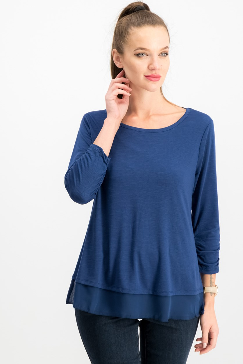 . Chiffon-Hem Three-Quarter-Sleeve Top, Mountain Blue