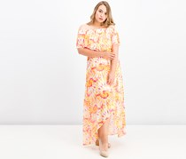 The Edit By Seventeen Juniors Printed Off-The-Shoulder Dress, Orange Combo