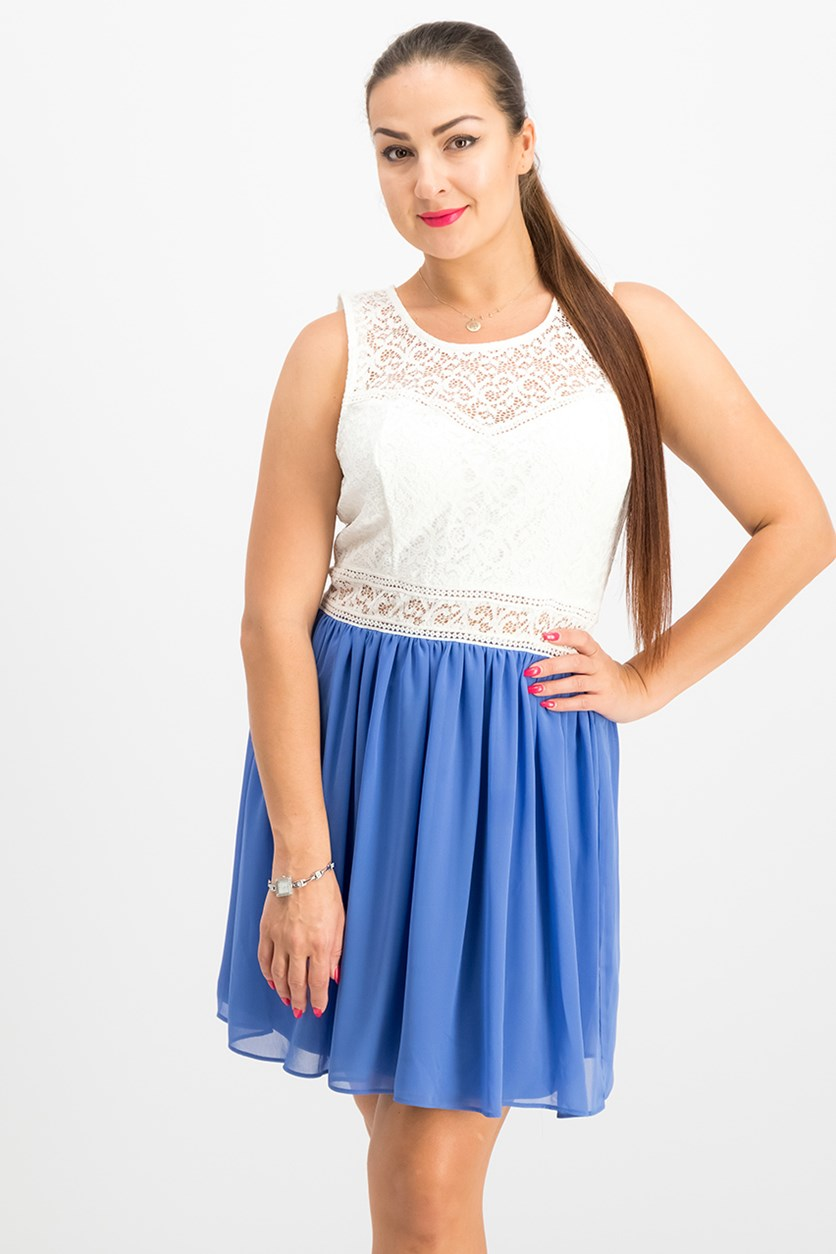 Women Juniors' Lace Chiffon Contrast Dress, Blue/White
