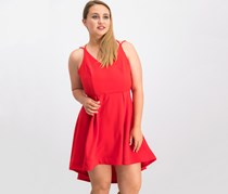 B Darlin Juniors' Adjustable High-Low Fit & Flare Dress, Red
