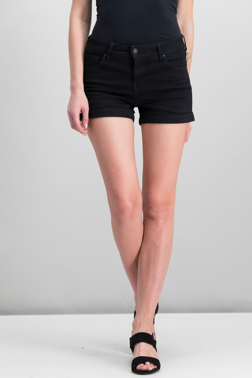 Juniors' Mid Rise Cuffed Shorts, Black
