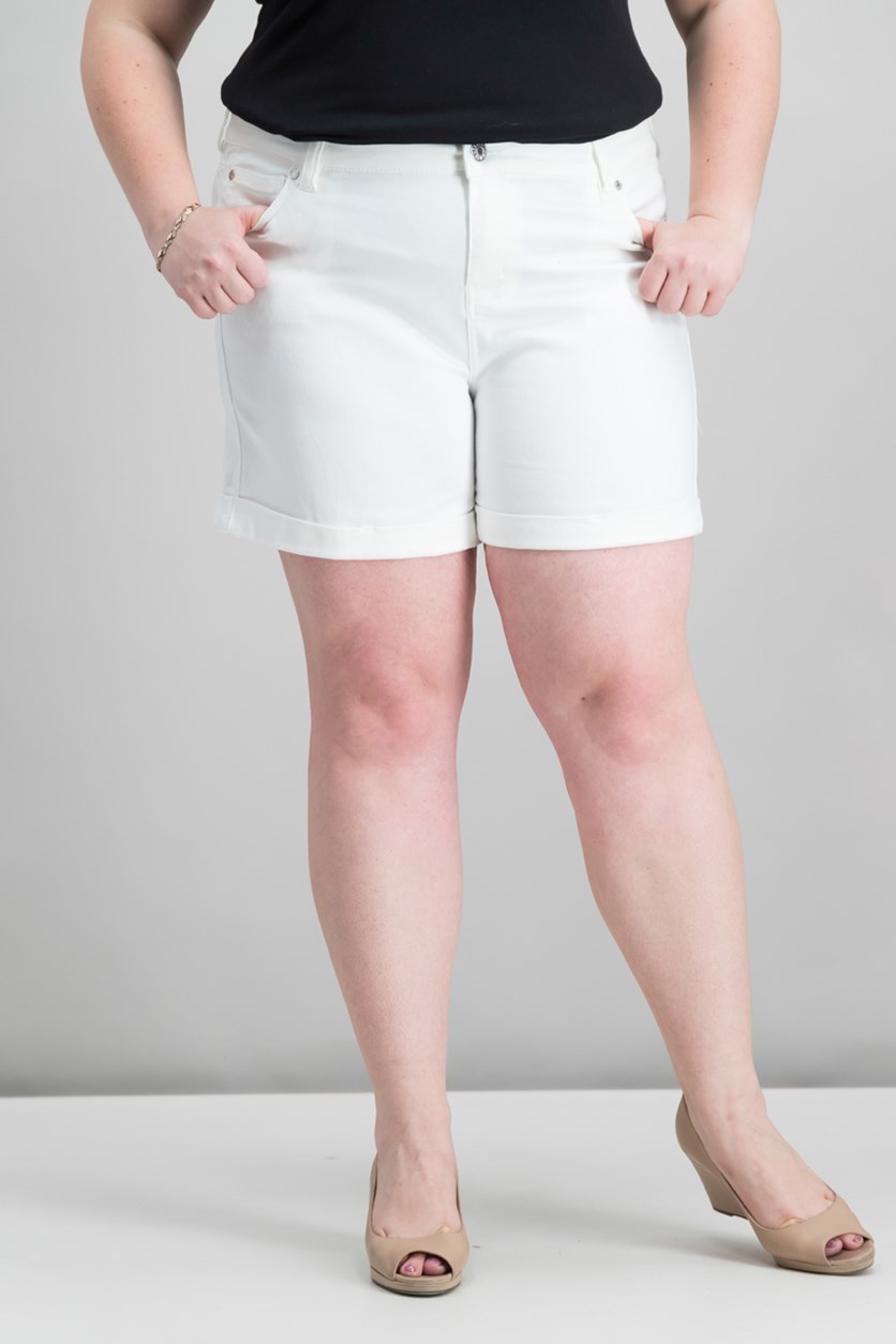 Women's Plus Denim Mid-Rise Denim Shorts, Optic White