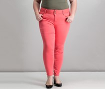 Thalia Sodi Double-Button Skinny Ankle Pant, Candy Coral