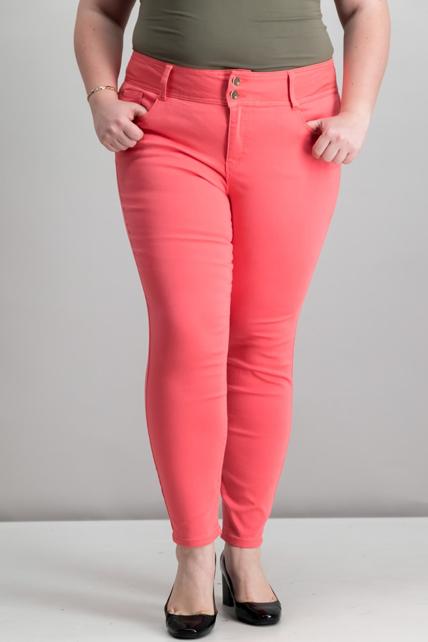 Double-Button Skinny Ankle Pant, Candy Coral