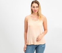 Pink Rose Women's Washed Tank Top, Melon