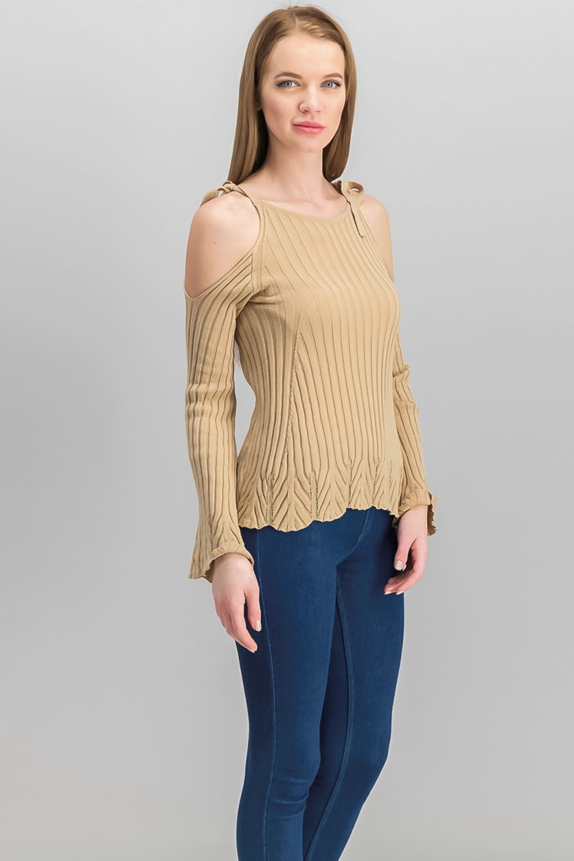 Ribbed Cold-Shoulder Sweater, Tan