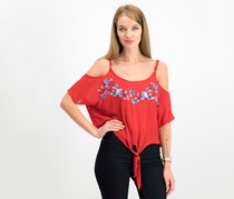 Polly & Esther Juniors' Embroidered Cold-Shoulder Top, Red