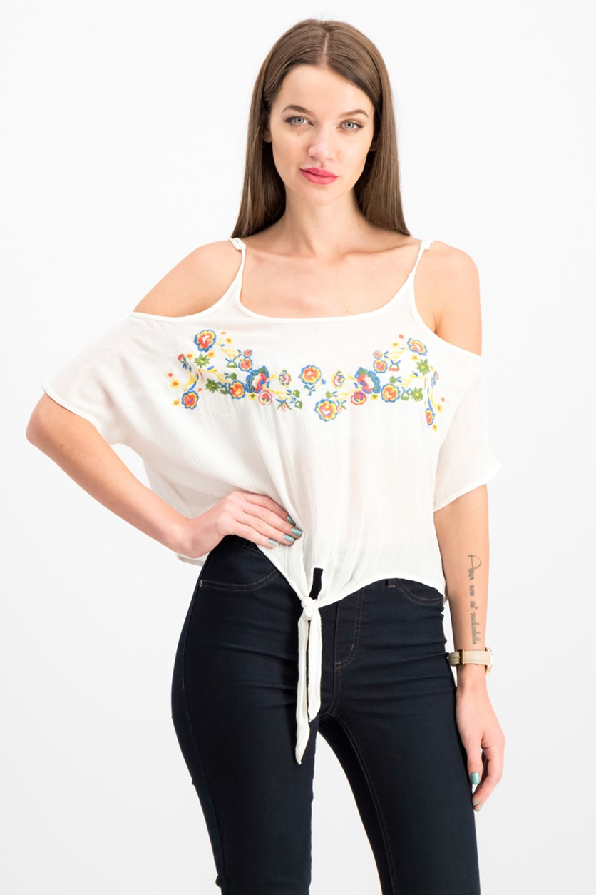 Polly & Esther Juniors' Embroidered Cold-Shoulder Top, White