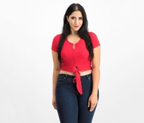 Polly and Esther Tie Front Cropped Top, Red