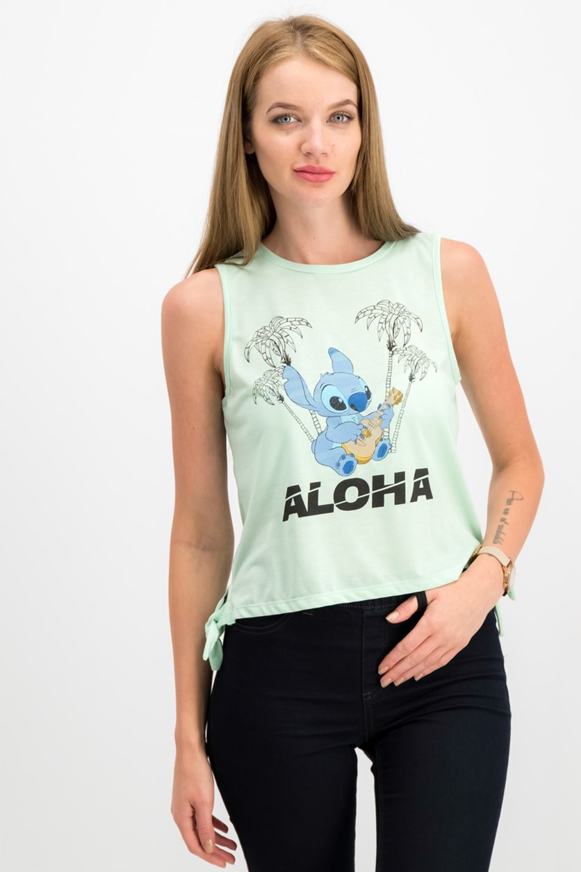 Juniors Stitch Aloha Side-Tie T-Shirt, Mint/Blue