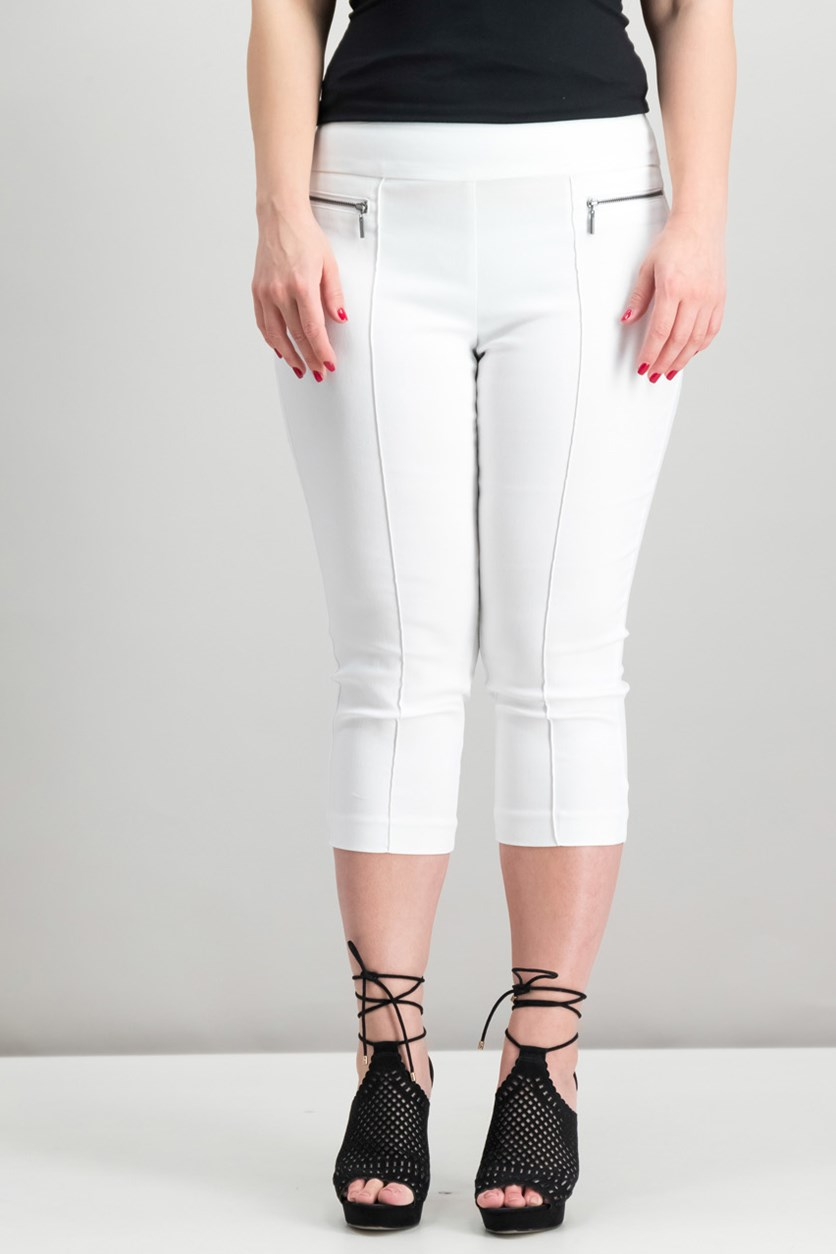 Petite Pull-On Cropped Pants, White