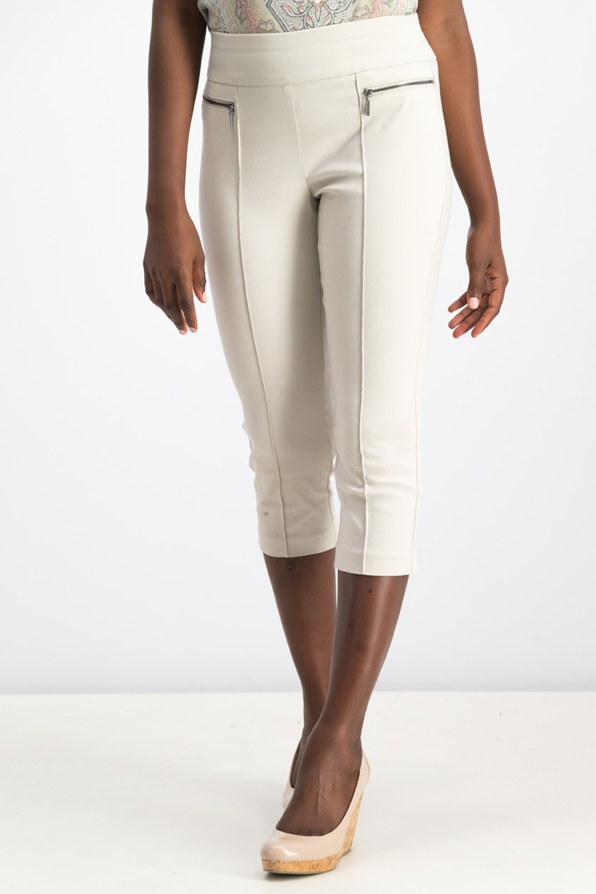 Petite Pull-On Cropped Pants, Stonewall