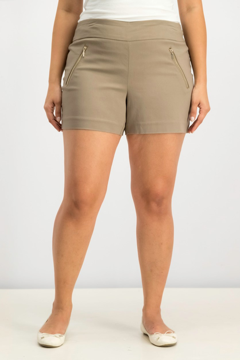 Zipper-Detail Shorts, Truffle