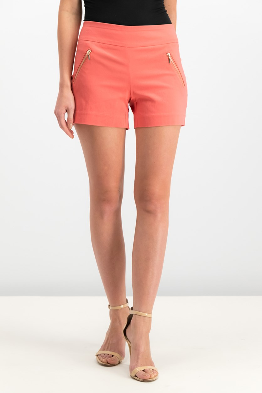 Zipper-Detail Shorts, Deep Sea Coral