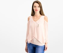 Bcx Juniors' Cold-Shoulder Contrast Top, Rose