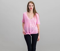 Womens Tie Hem Top, Cerise Pink