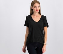Free People Women Pearls V-Neck T-Shirt, Black