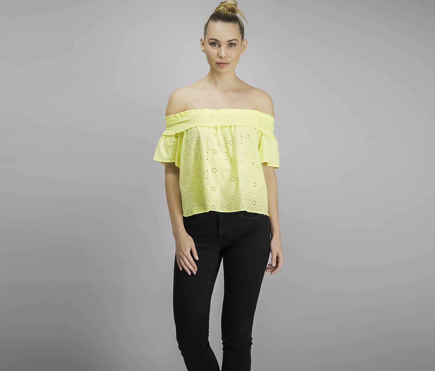 The Edit By Seventeen Juniors Off-The-Shoulder Eyelet, Yellow