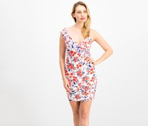 Guess Asymmetrical Floral Bodycon Dress, White/Red Combo