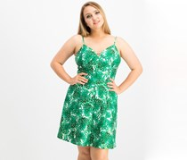 Leaf-Print Skater Dress, Green