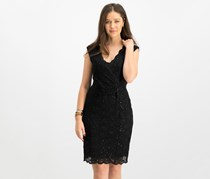 Connected Women's Sequin-Lace Sheath Dress, Black