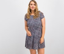 Connected Apparel Women's Petite Printed Fit & Flare Dress, Navy Combo