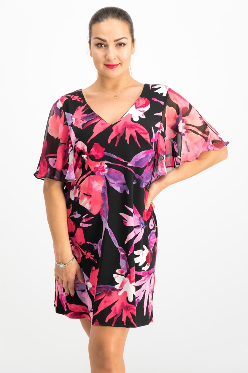 Women's Petite Sheath Ruffled-Sleeve Floral-print Dress, Fuschia Combo