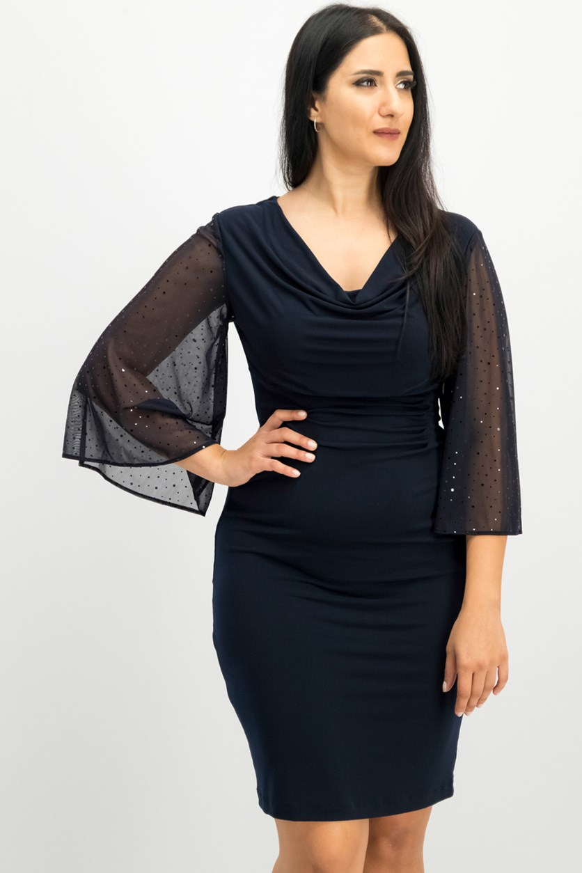 Women Cowl-Neck Dress, Navy