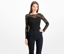 Material Girl Juniors' Illusion Lace Bodysuit, Black