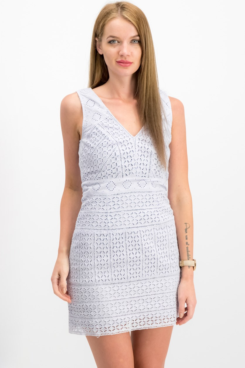 Women's Schiffly Cage V-Neck Dress, Salt Water