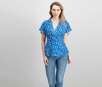 French Connection Flutter-Sleeve Wrap Top, Vintage Blue