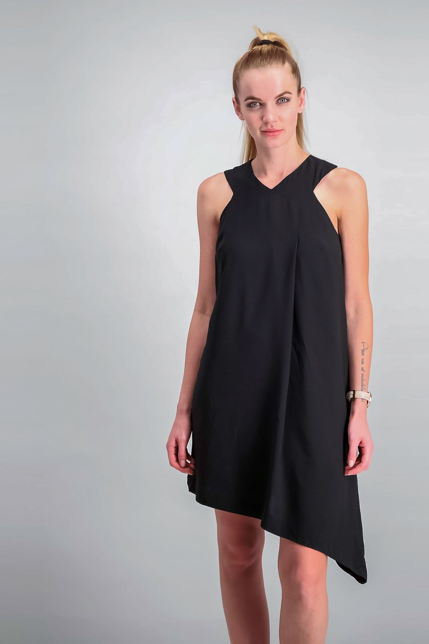 Asymmetrical Shift Dress, Black
