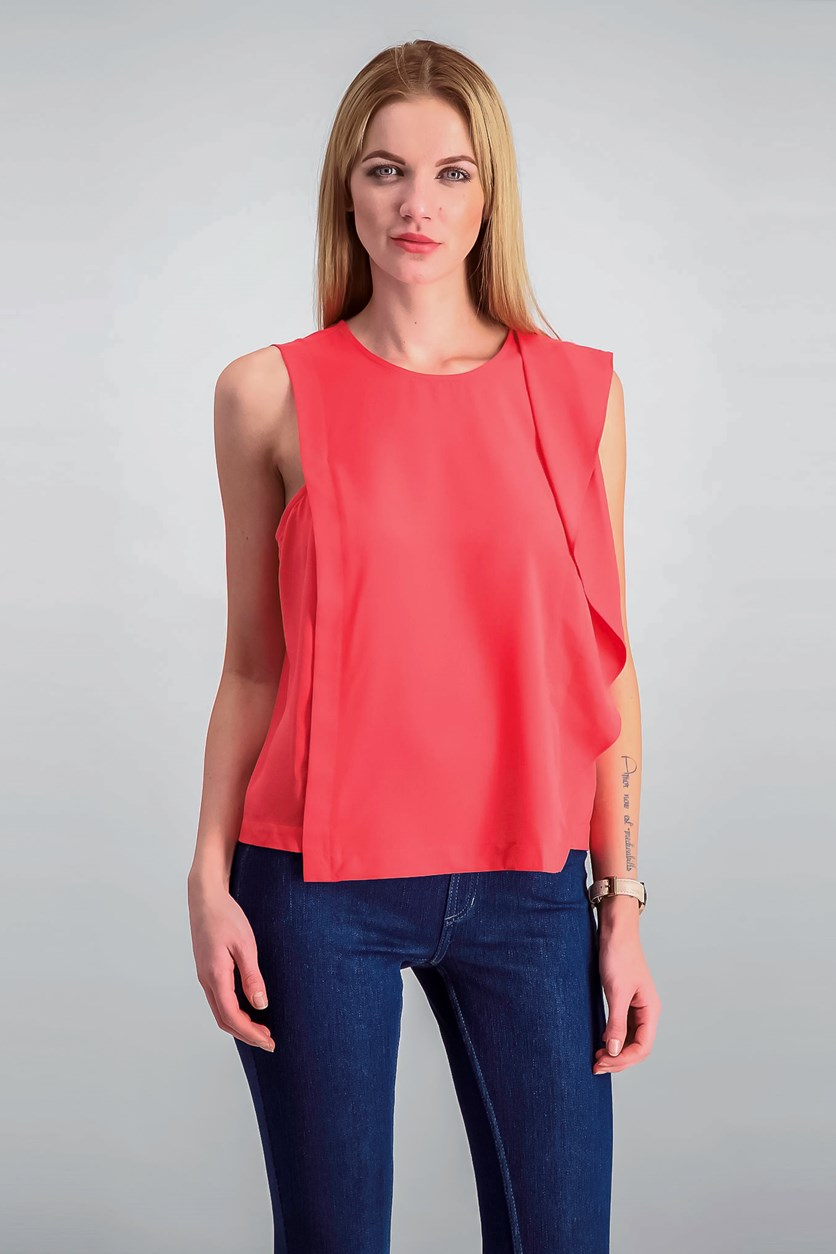 Ruffled Blouse, Watermelon
