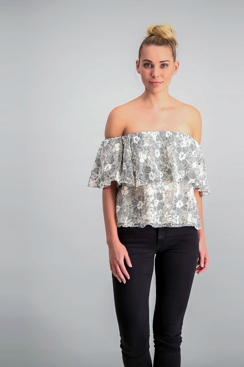 Off-The-Shoulder Lace Crop Top, Beige