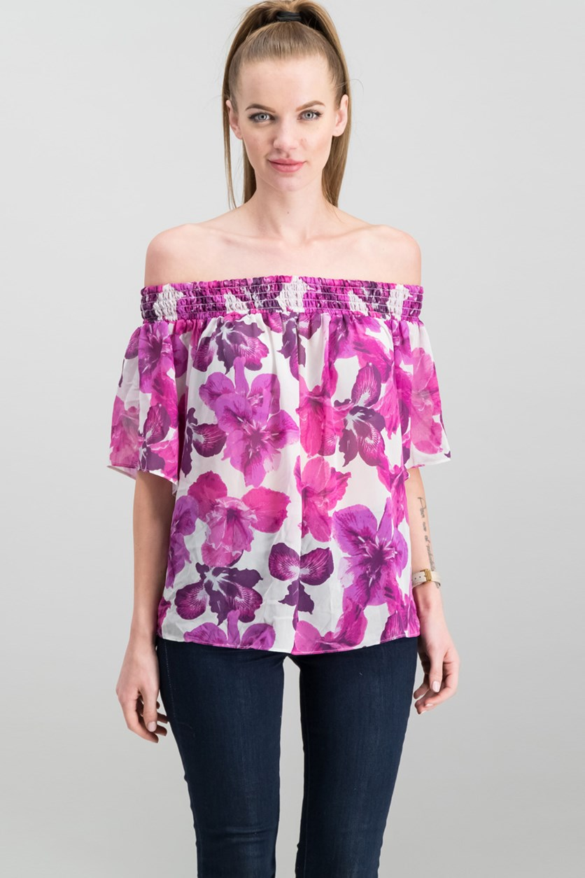 Off-The-Shoulder Top, Cream/Pink Iris