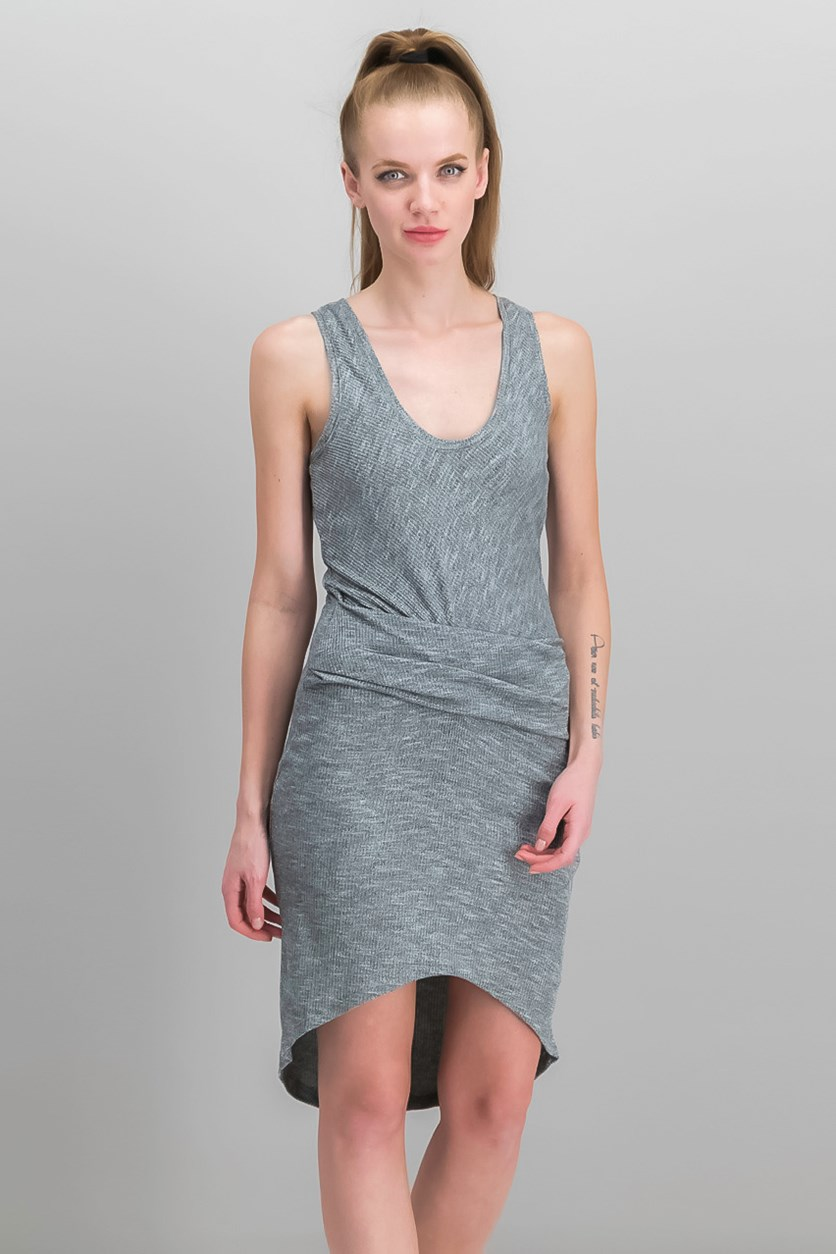 Michele High-Low Gathered Tank Dress, Heather Grey