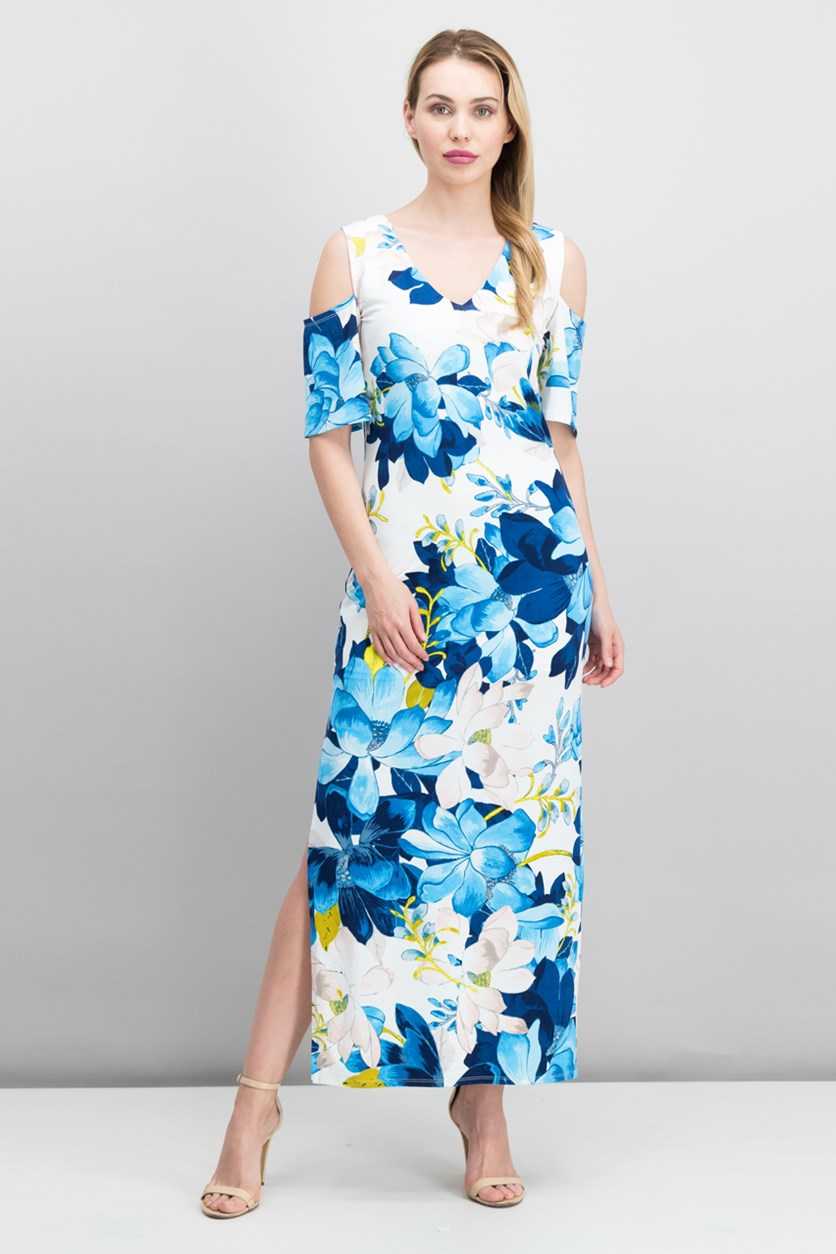 Printed Cold-Shoulder Maxi Dress, Blue/White