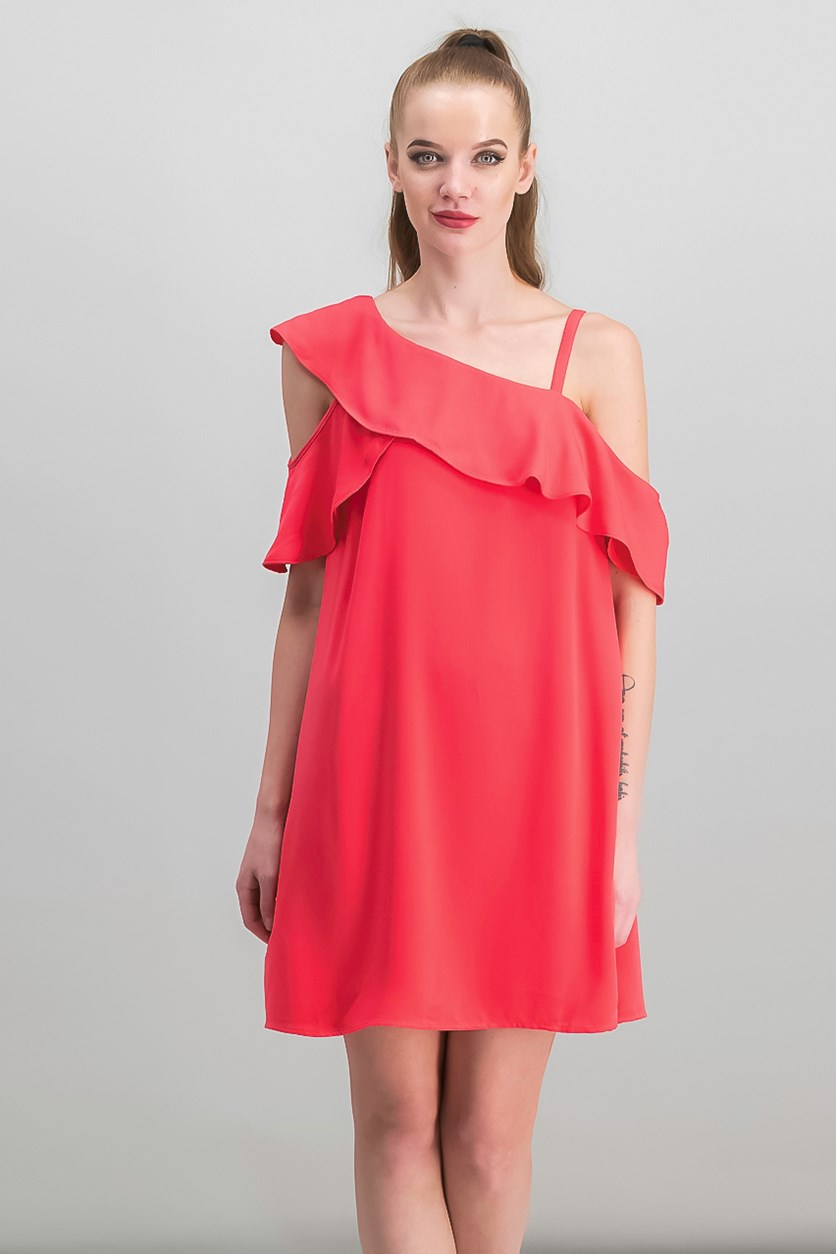 Asymmetrical Cold-Shoulder Dress, Flamingo