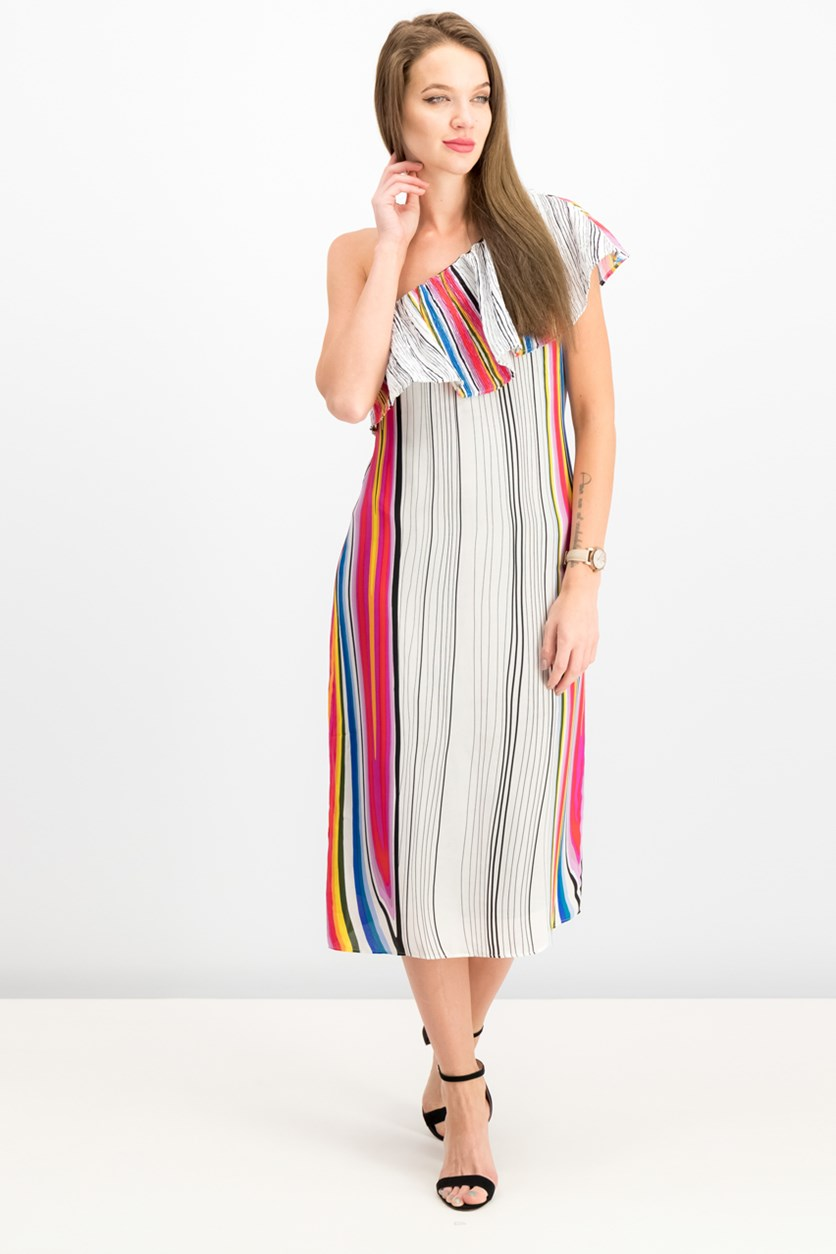Rainbow Striped One-Shoulder Dress, Rainbow Combo