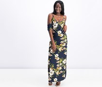 Rachel Roy Floral Cold-Shoulder Maxi Dress, Cadet Combo