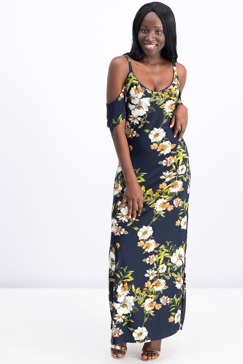 Floral Cold-Shoulder Maxi Dress, Cadet Combo