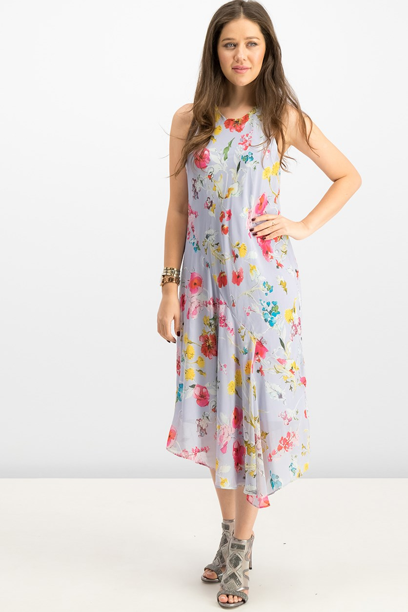 Flora Printed Scarf Dress, Morning Blue Combo