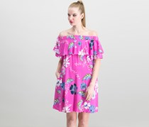 Rachel Roy Off-The-Shoulder Dress, Hot Pink Purple Combo