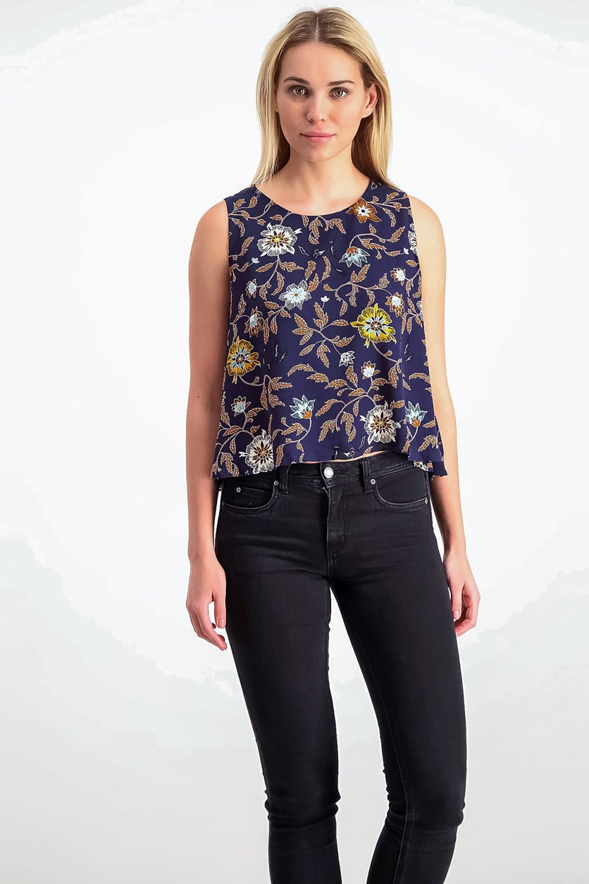 Women's Floral Tops, Navy