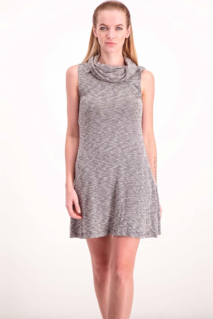 Women Cowl Neck Dress, Heather Grey